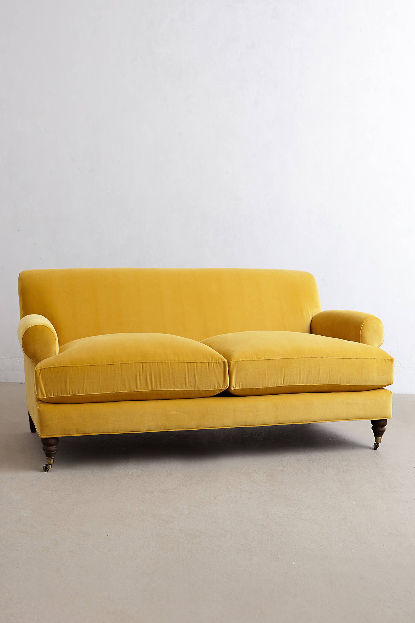Velvet Willoughby Settee, Hickory