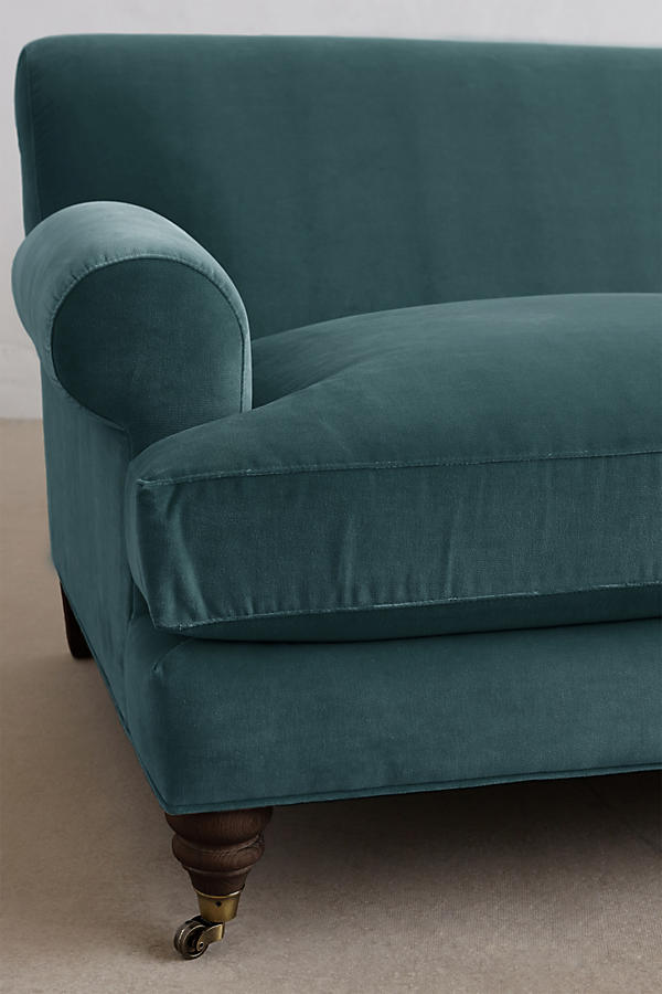 Slide View: 3: Velvet Willoughby Settee, Hickory