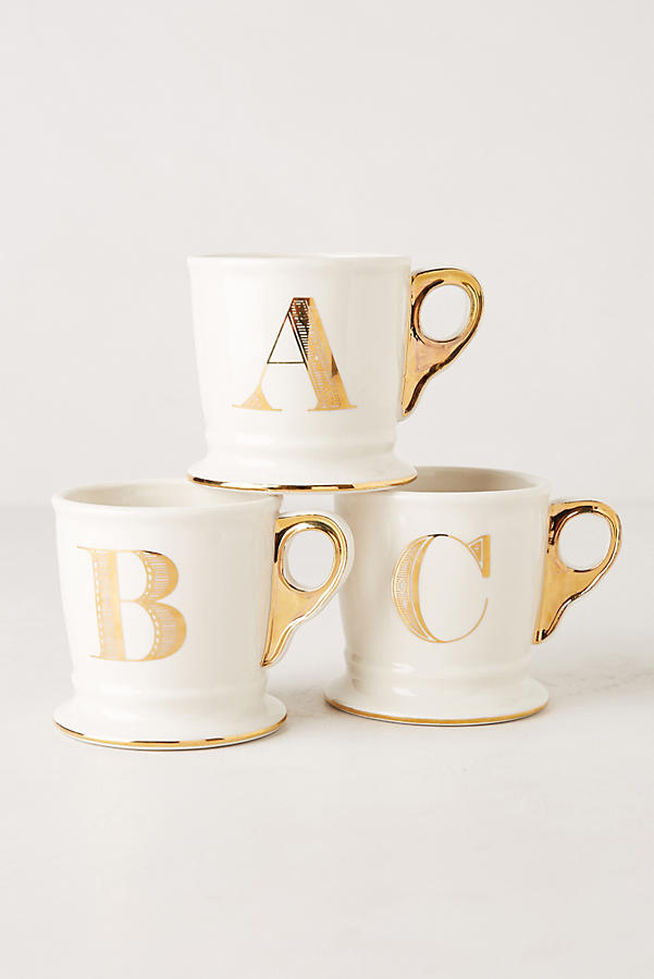 tasse mit goldenem monogramm anthropologie. Black Bedroom Furniture Sets. Home Design Ideas