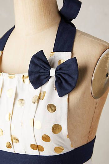 Slide View: 2: Gold Polka Dotted Apron