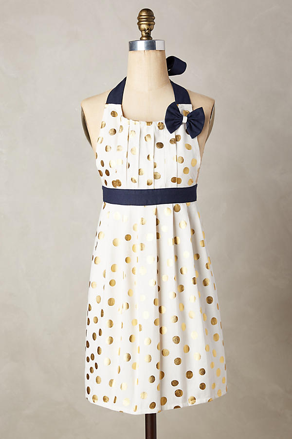 Slide View: 1: Gold Polka Dotted Apron