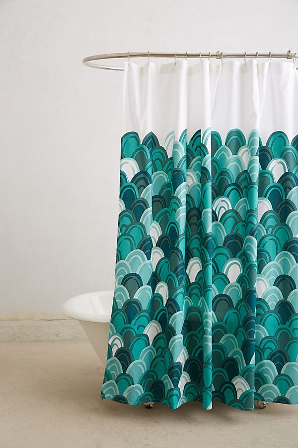 Emerald Shells Shower Curtain
