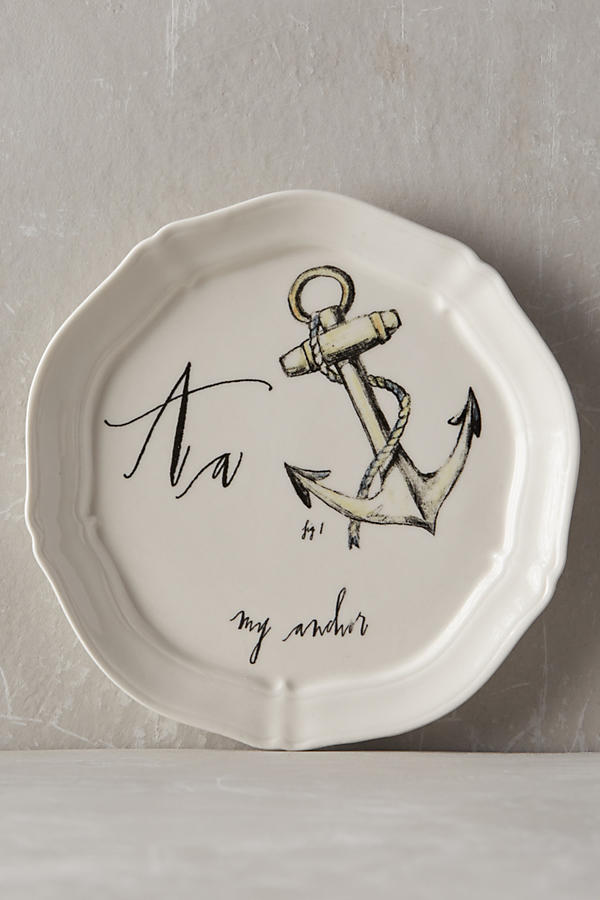 Slide View: 3: Calligrapher Monogram Canape Plate