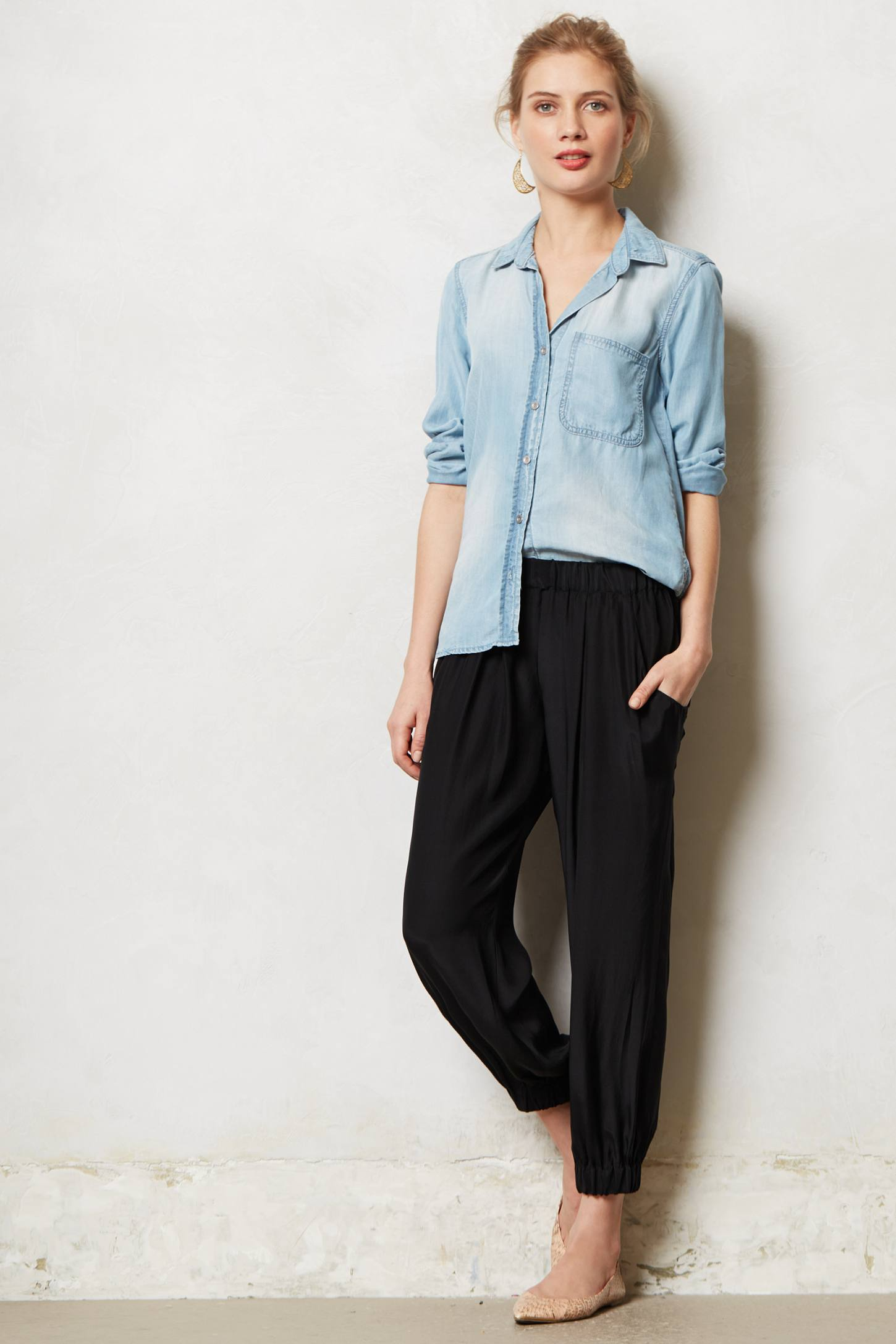 Cinched Silk Trousers