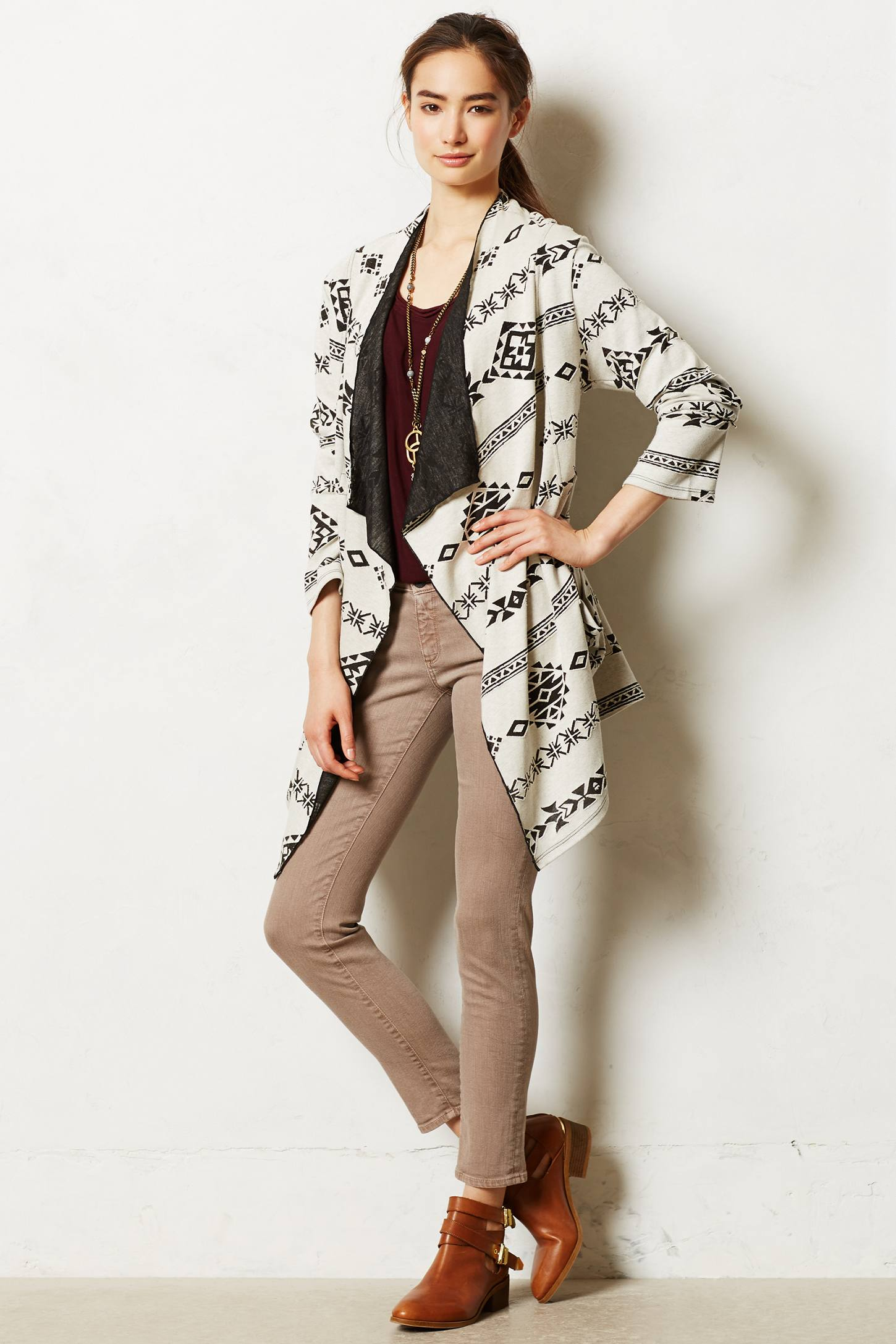 Clipped Jacquard Cardigan