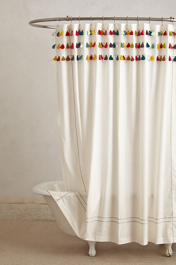 beige and white shower curtain.  Lindi Fringe Shower Curtain Anthropologie