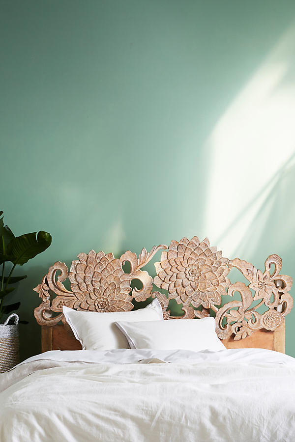 Hand-Carved Lotus Bed - Neutral
