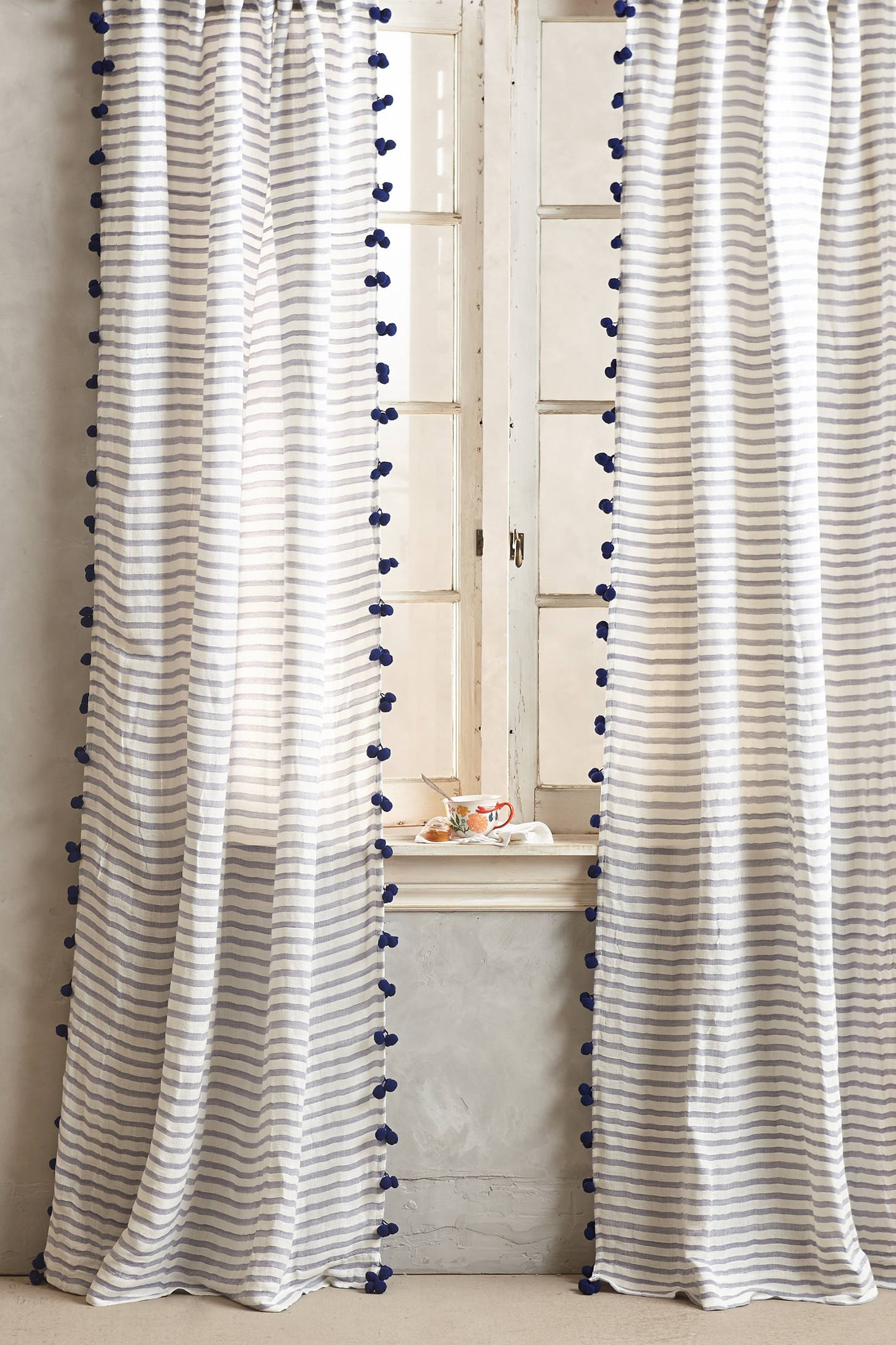 Slide View: 1: Pom Tassel Curtain