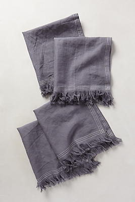Slide View: 1: Stitched Linen Napkin Set
