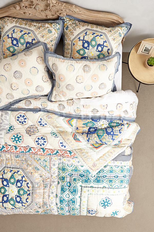 Ponsonby Pillowcases - Grey Motif, Size Std Shams