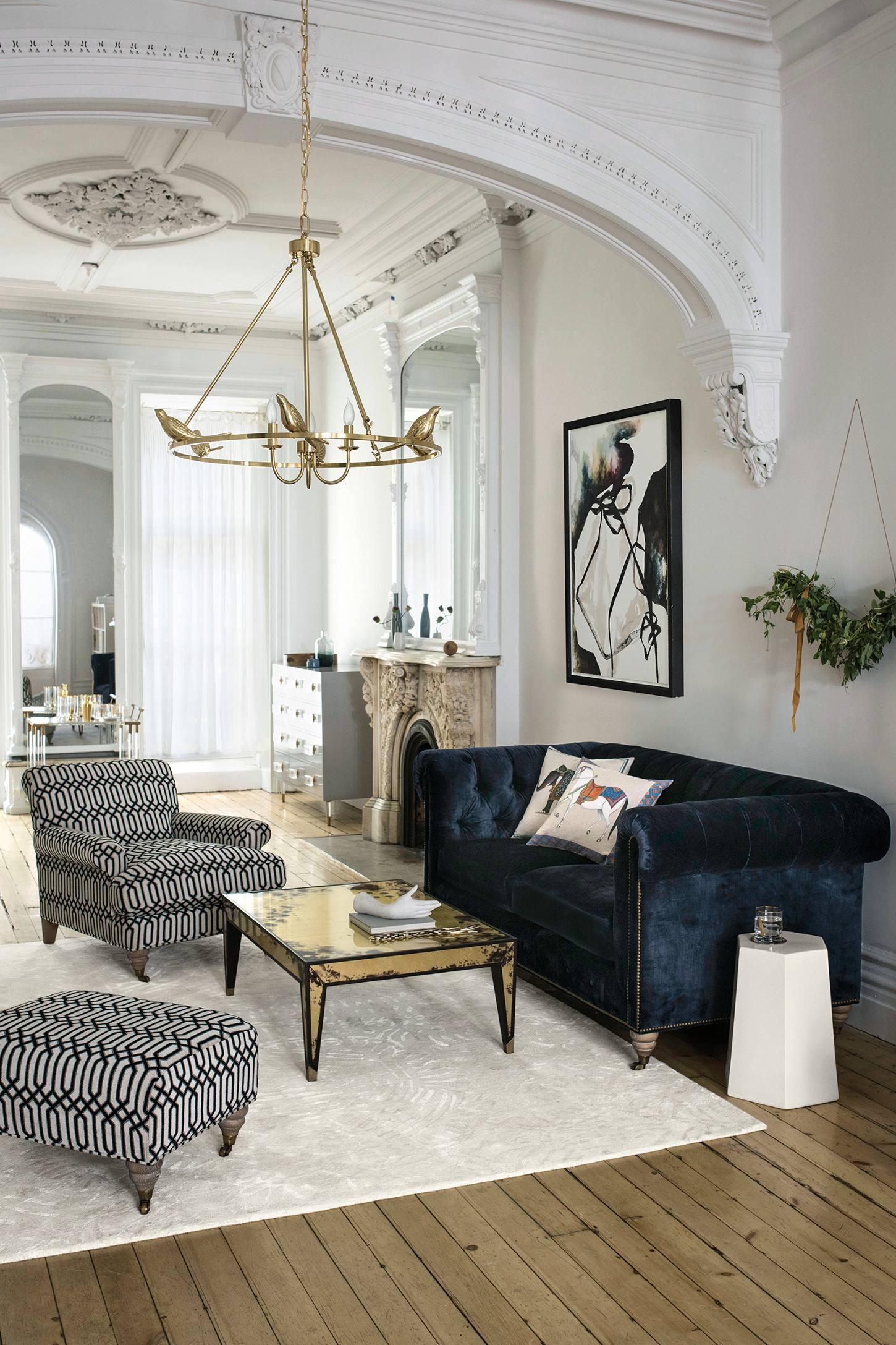 Living Room With Chesterfield Sofa Velvet Lyre Chesterfield Sofa Wilcox Anthropologie