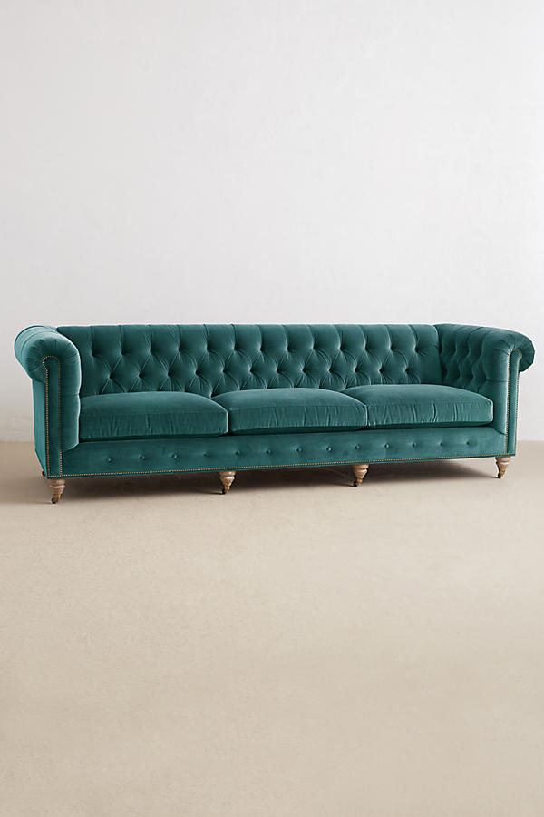 Slide View: 1: Velvet Grand Lyre Chesterfield Sofa, Wilcox