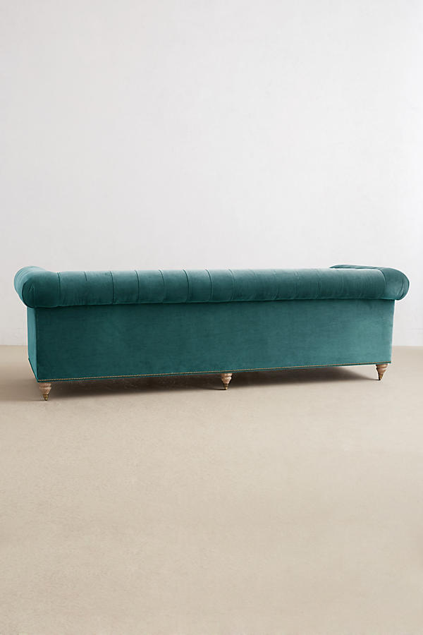 Slide View: 2: Velvet Grand Lyre Chesterfield Sofa, Wilcox