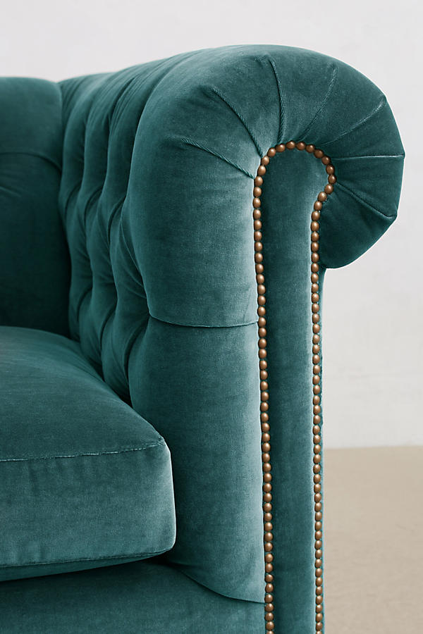 Slide View: 3: Velvet Grand Lyre Chesterfield Sofa, Wilcox