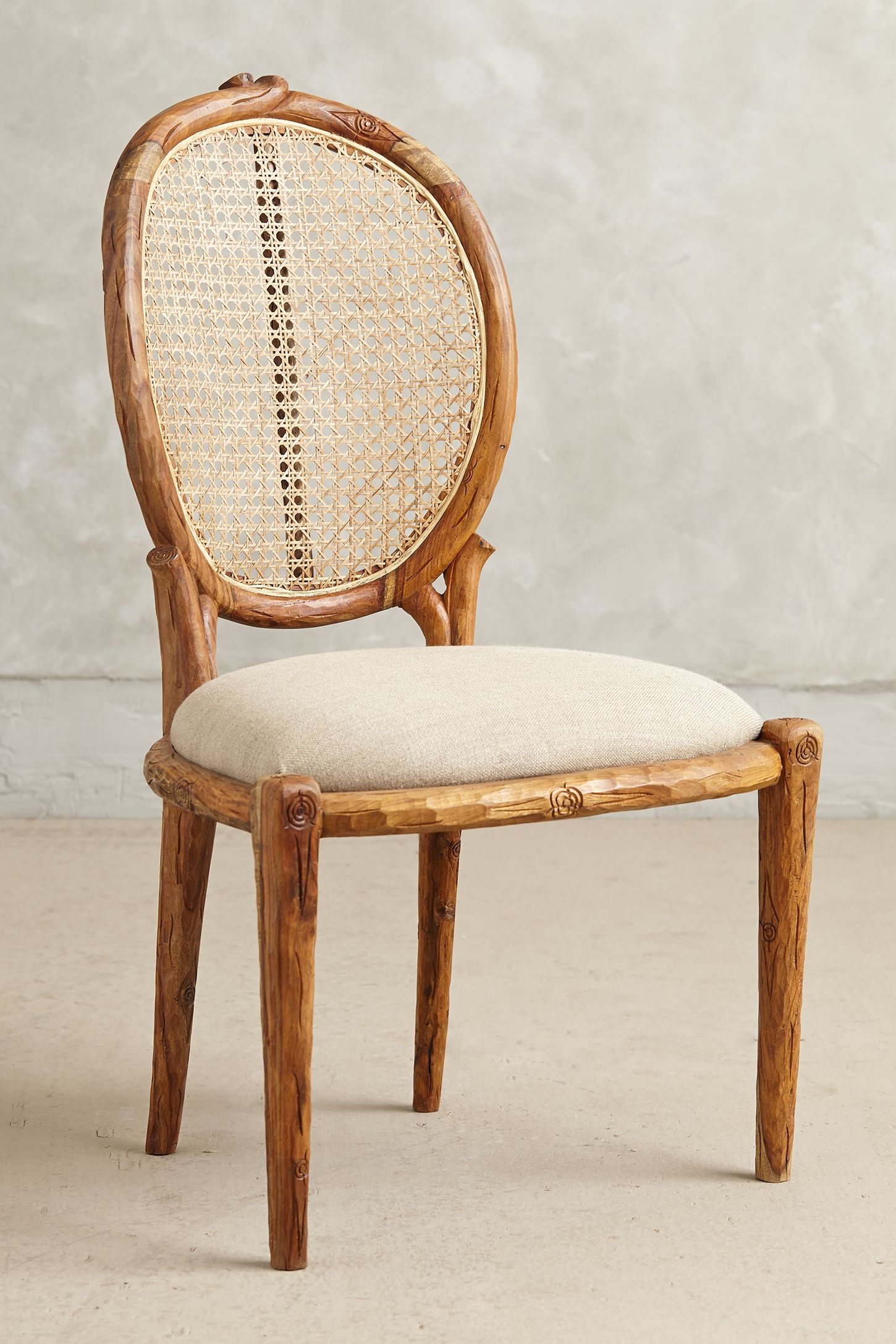 Armless Cane Back Dining Chair
