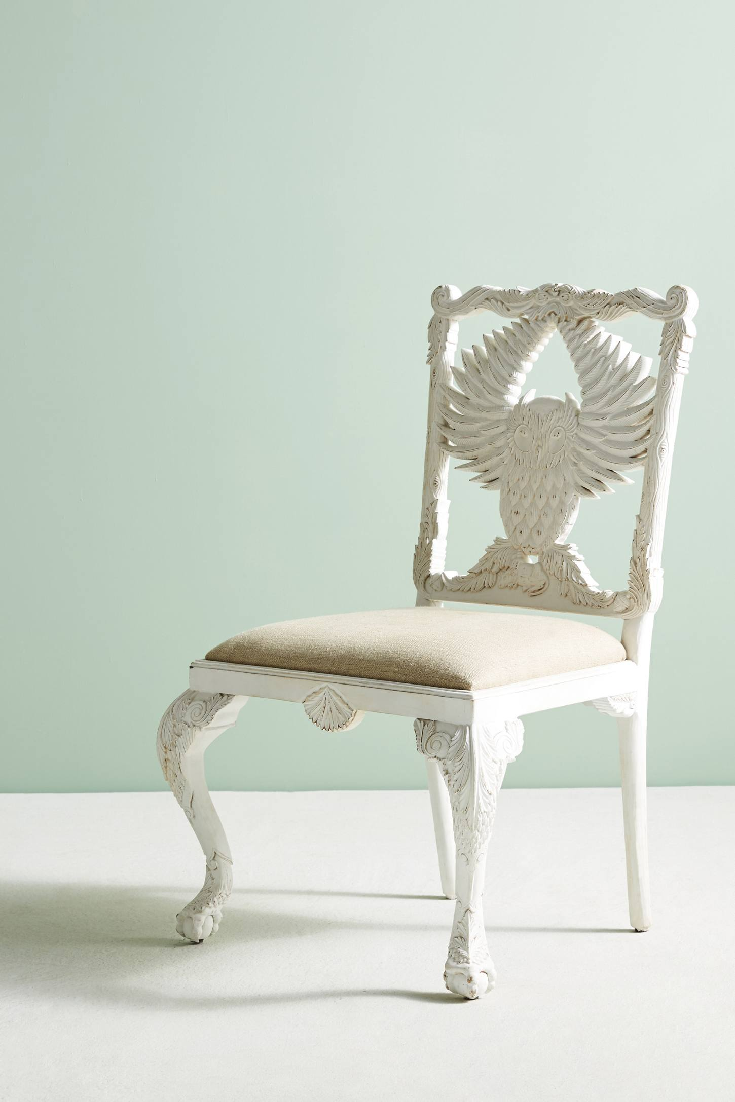Slide View: 2: Handcarved Menagerie Owl Dining Chair