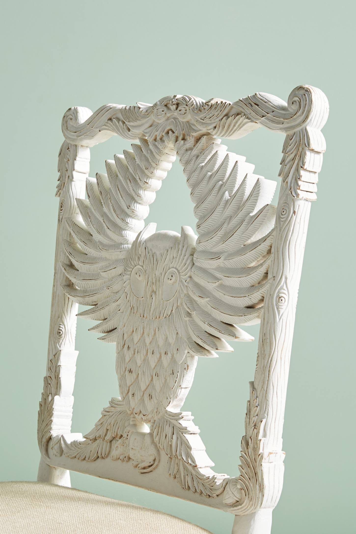 Slide View: 6: Handcarved Menagerie Owl Dining Chair