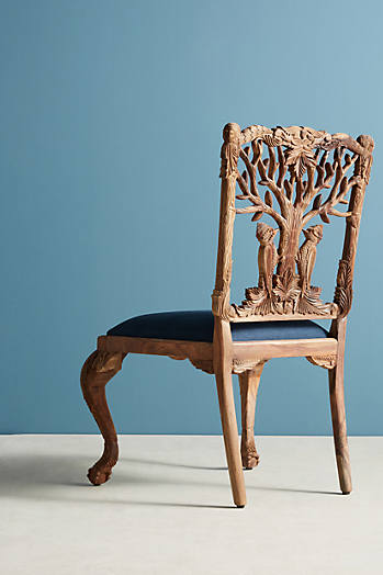 Slide View: 4: Handcarved Menagerie Woodpecker Dining Chair