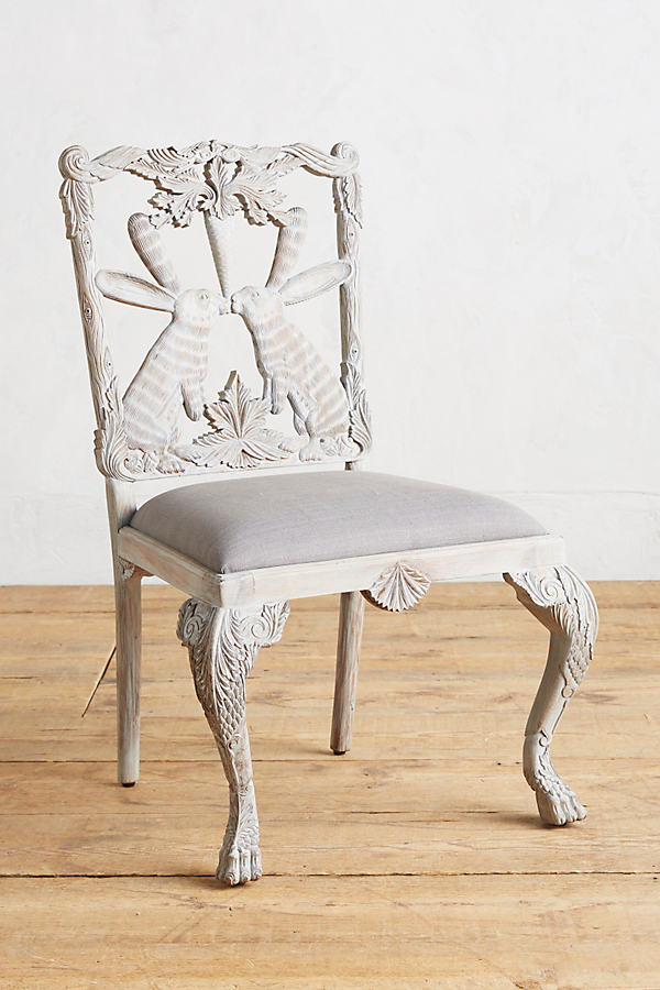 Handcarved Menagerie Rabbit Dining Chair - Grey