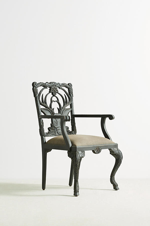 Slide View: 2: Handcarved Menagerie Deer Armchair