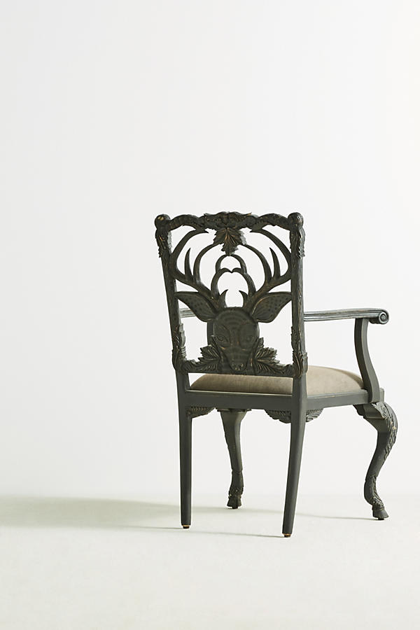 Slide View: 4: Handcarved Menagerie Deer Armchair