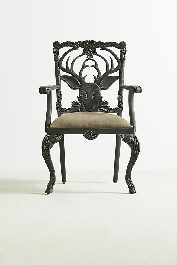 Slide View: 1: Handcarved Menagerie Deer Armchair