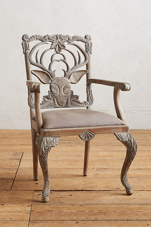 Handcarved Menagerie Deer Dining Chair - Grey