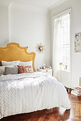 Slide View: 1: Textured Chevron Duvet Cover