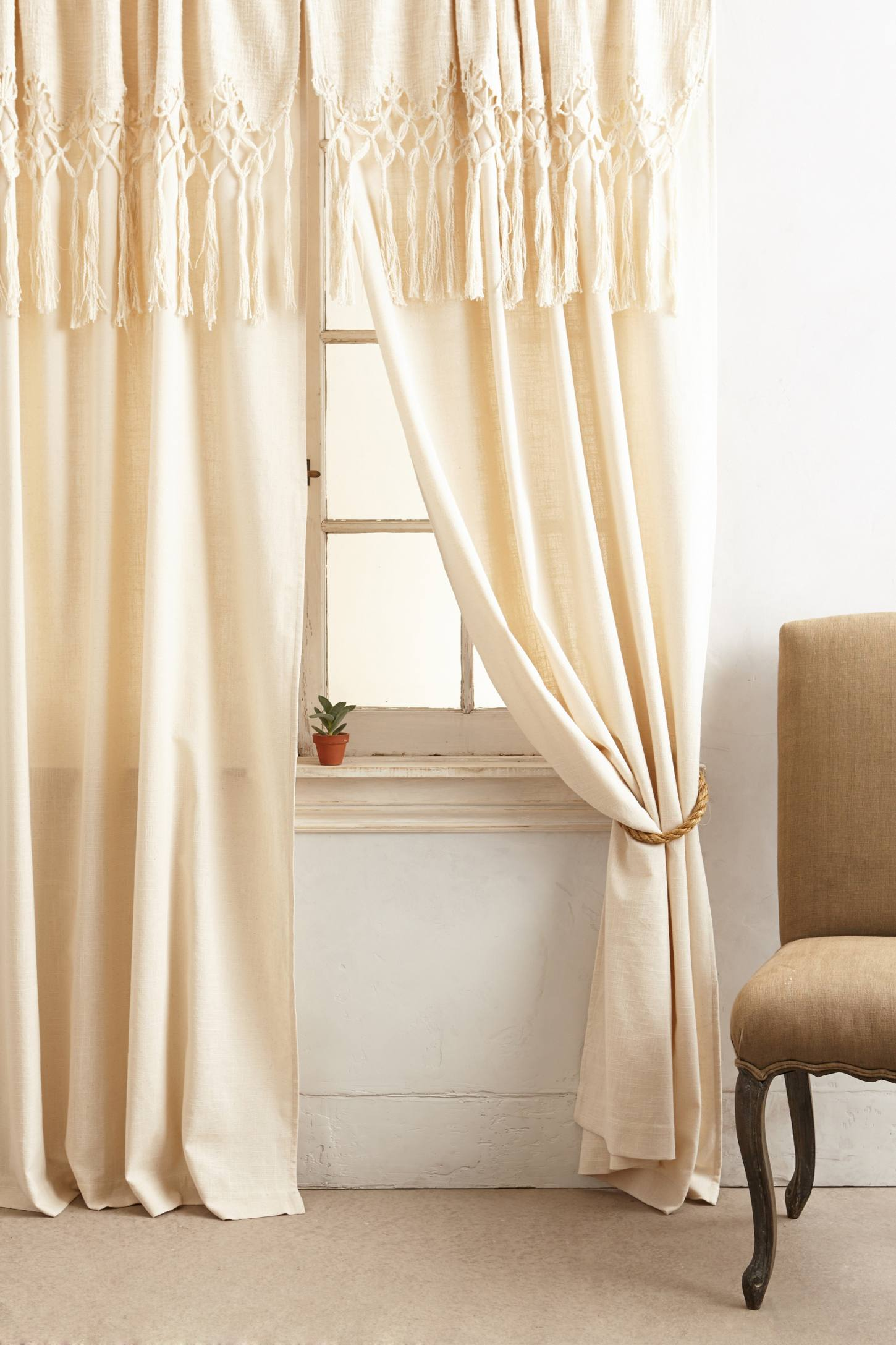 Slide View: 2: Knotted Macrame Curtain