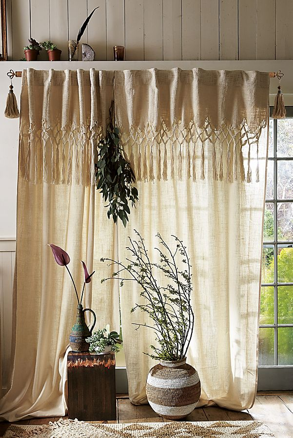 Slide View 1 Knotted Macrame Curtain