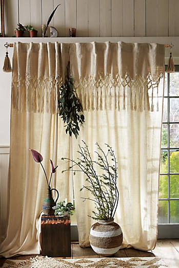 Slide View: 1: Knotted Macrame Curtain