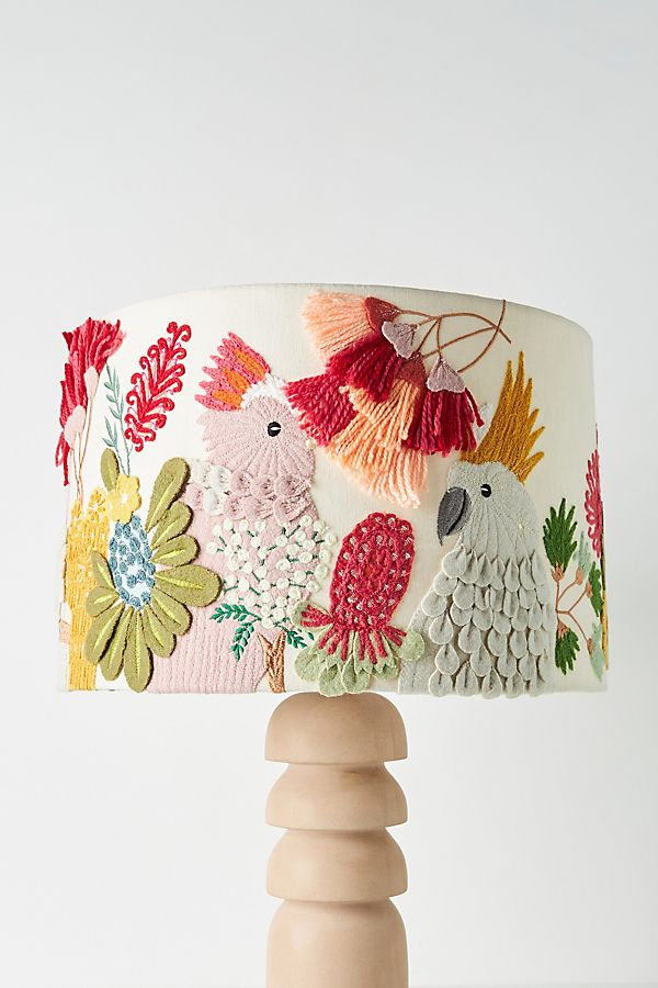 Slide view 1 embroidered cockatoo lamp shade