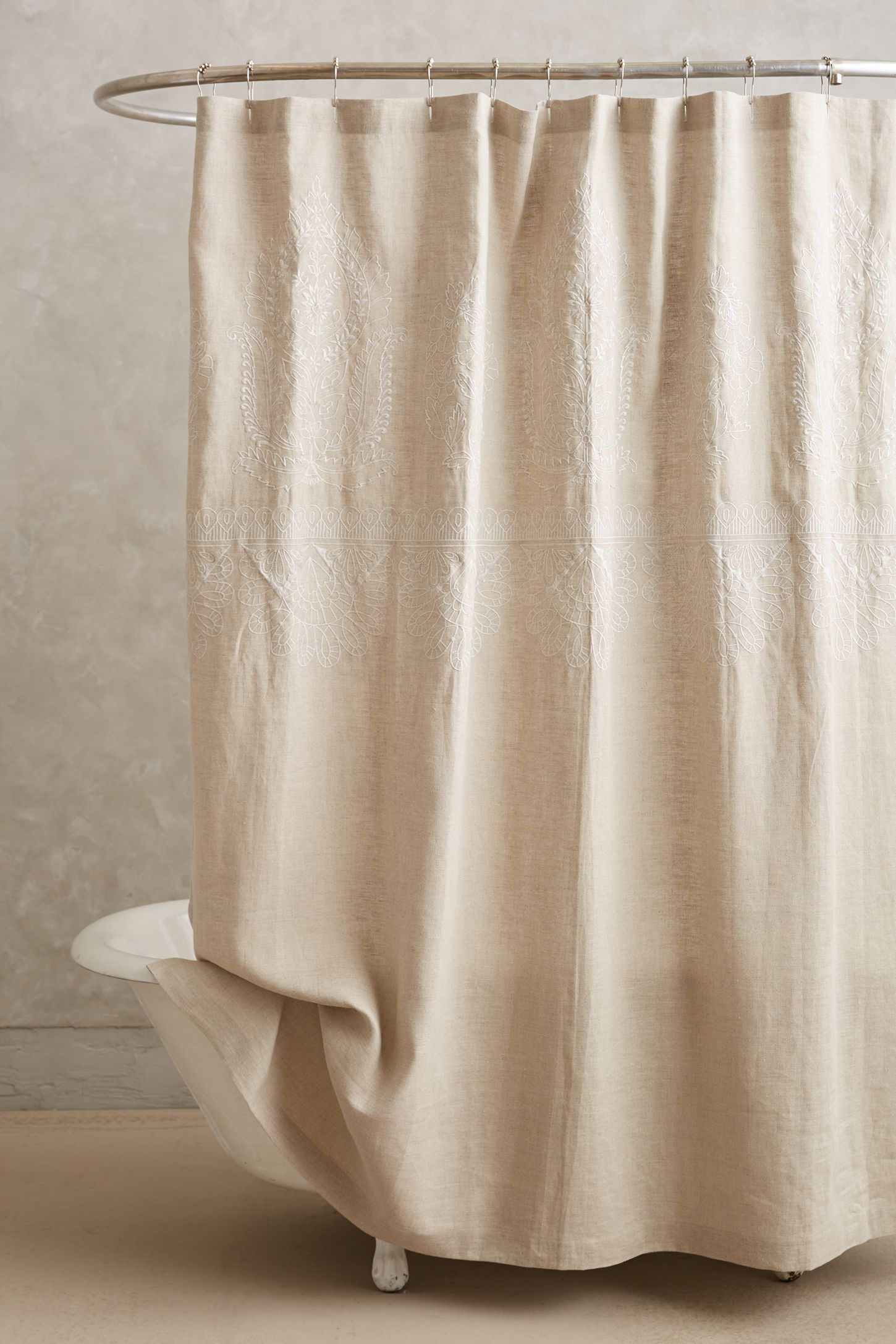 Embroidered Linen Shower Curtain Anthropologie