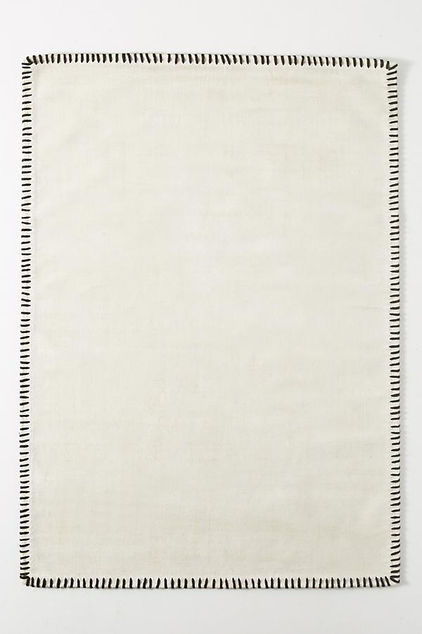 Whipstitch Rug - White, Size 8 D
