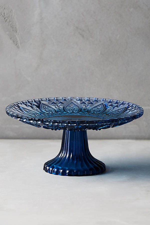 Color cut cake stand anthropologie for Colored glass cake stand