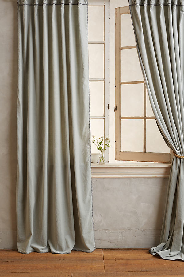 Hand-Embroidered Charente Curtain - Dark Grey, Size 50 X 108