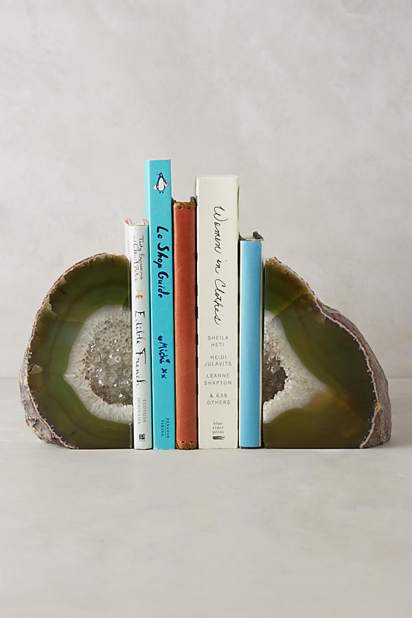 hand-cut agate bookends
