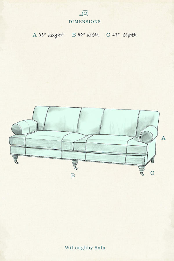 Slide View: 4: Linen Willoughby Sofa, Hickory