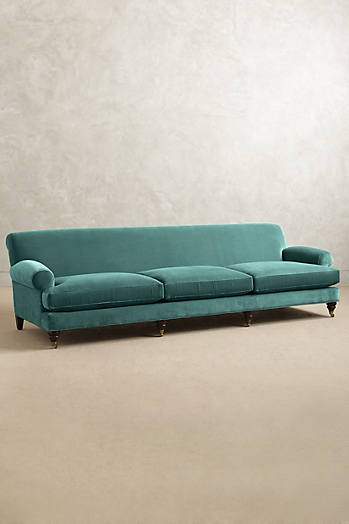 Slide View: 1: Velvet Willoughby Grand Sofa, Hickory