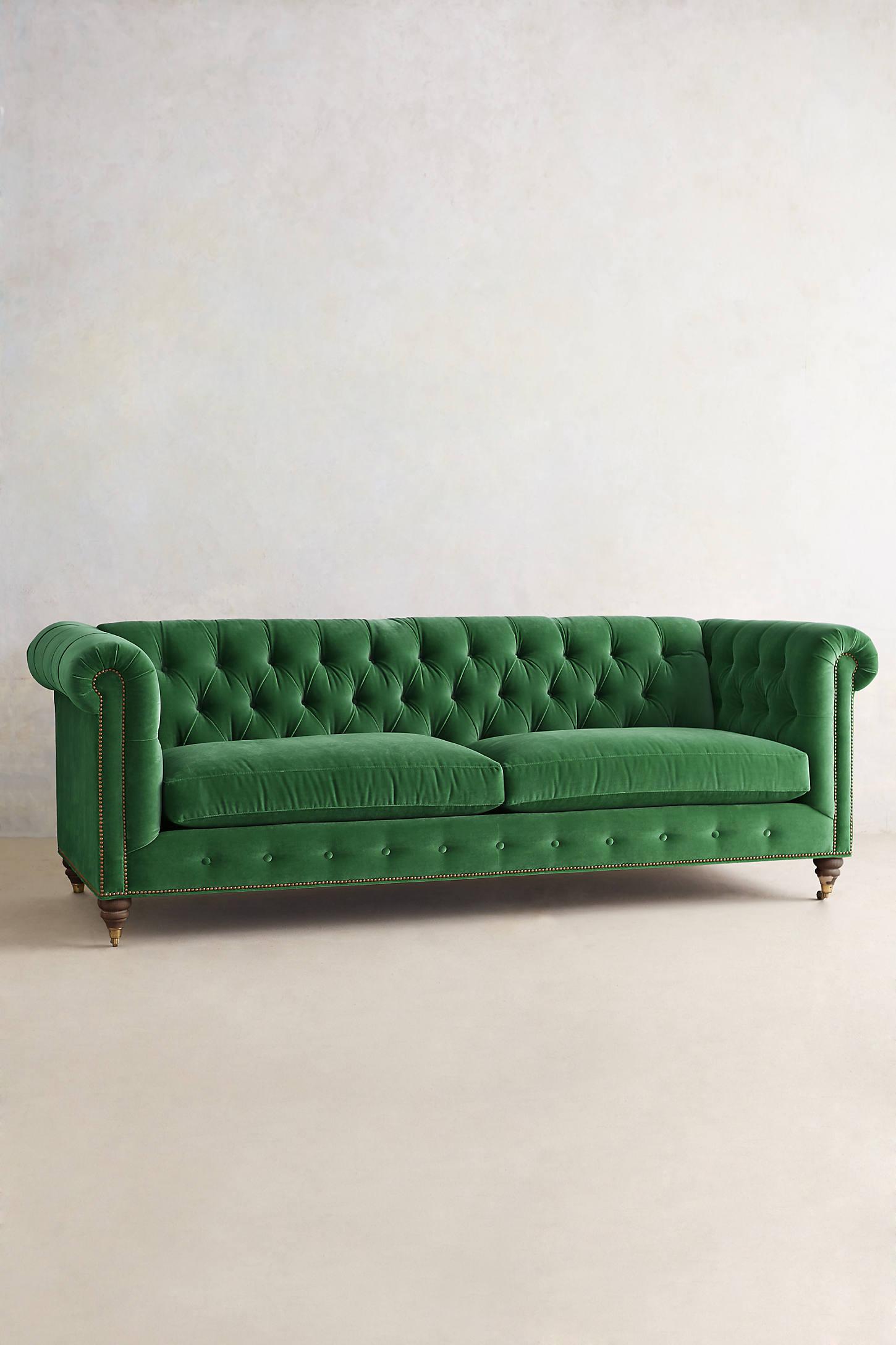 Velvet Lyre Chesterfield Sofa, Hickory