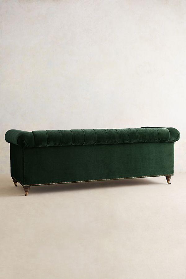 Velvet Lyre Chesterfield Sofa, Hickory | Anthropologie