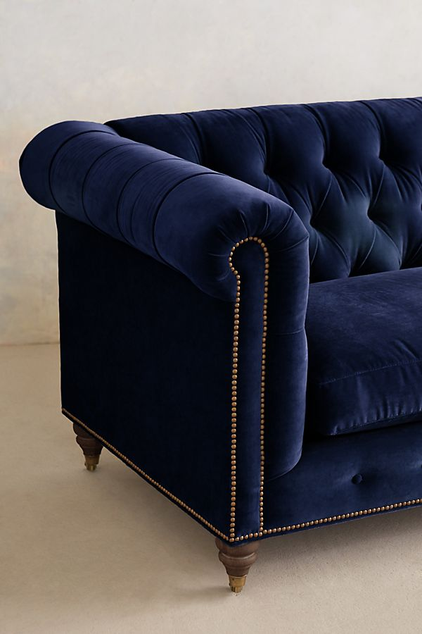 Velvet Lyre Chesterfield Sofa, Hickory | Anthropologie