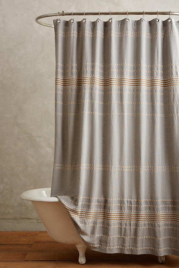 coyuchi scallop striped shower curtain anthropologie. Black Bedroom Furniture Sets. Home Design Ideas