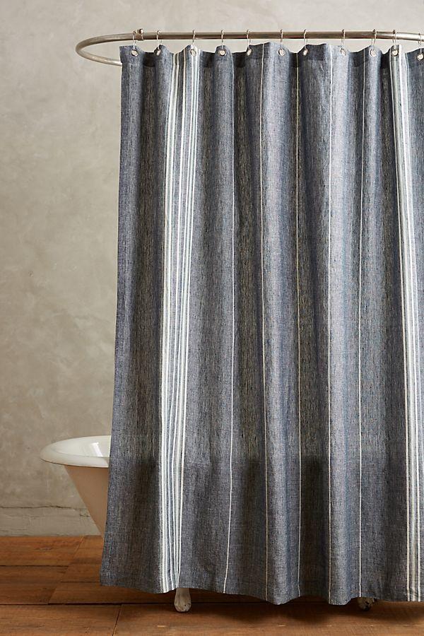 Coyuchi Striped Linen Shower Curtain