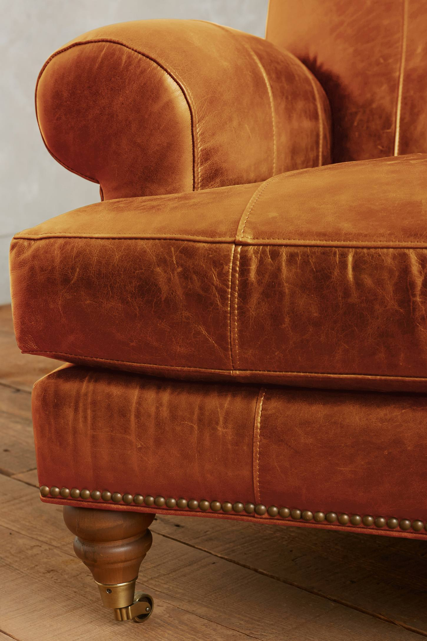 Slide View: 3: Leather Willoughby Settee