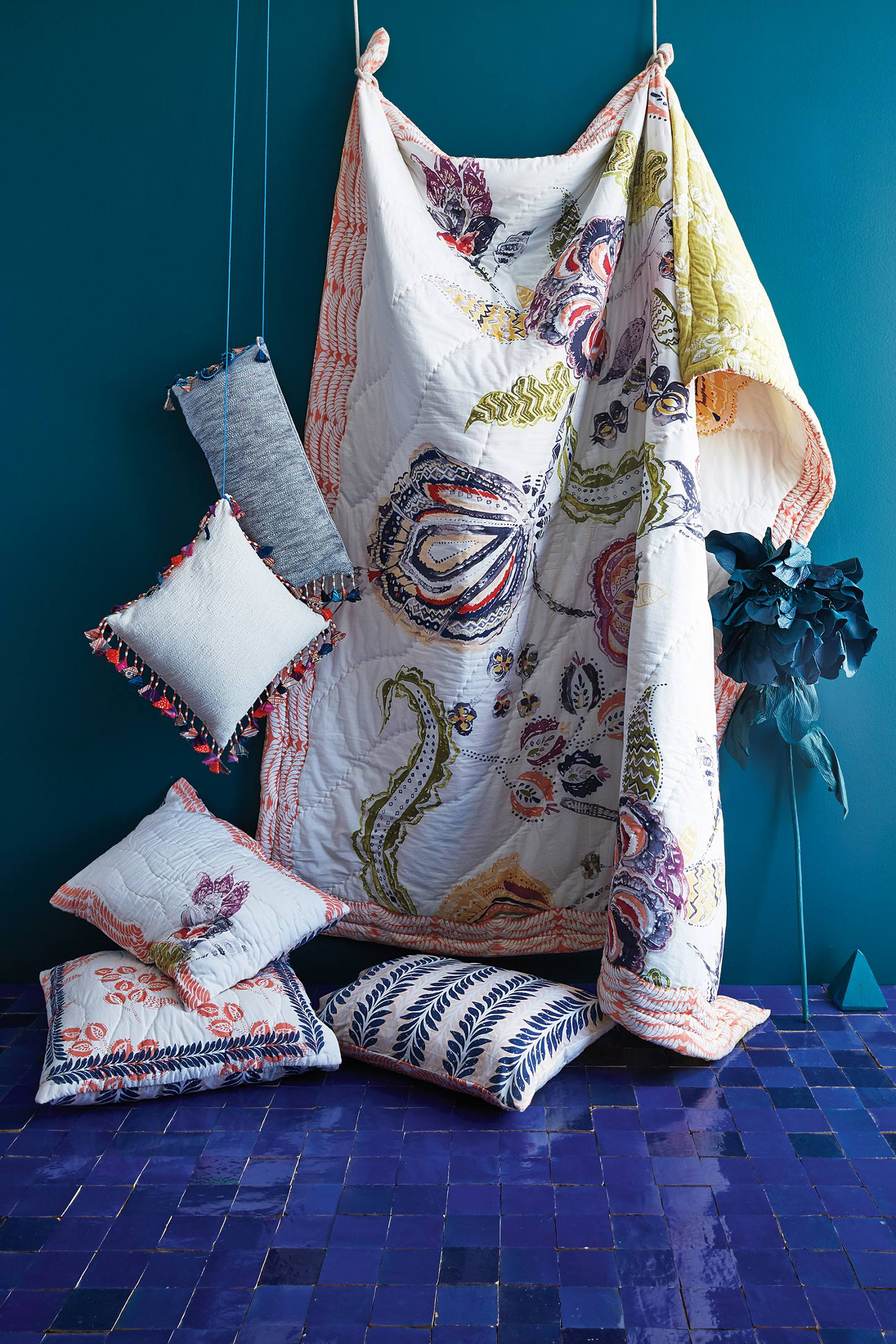 Slide View: 5: Woodblock Floral Quilt