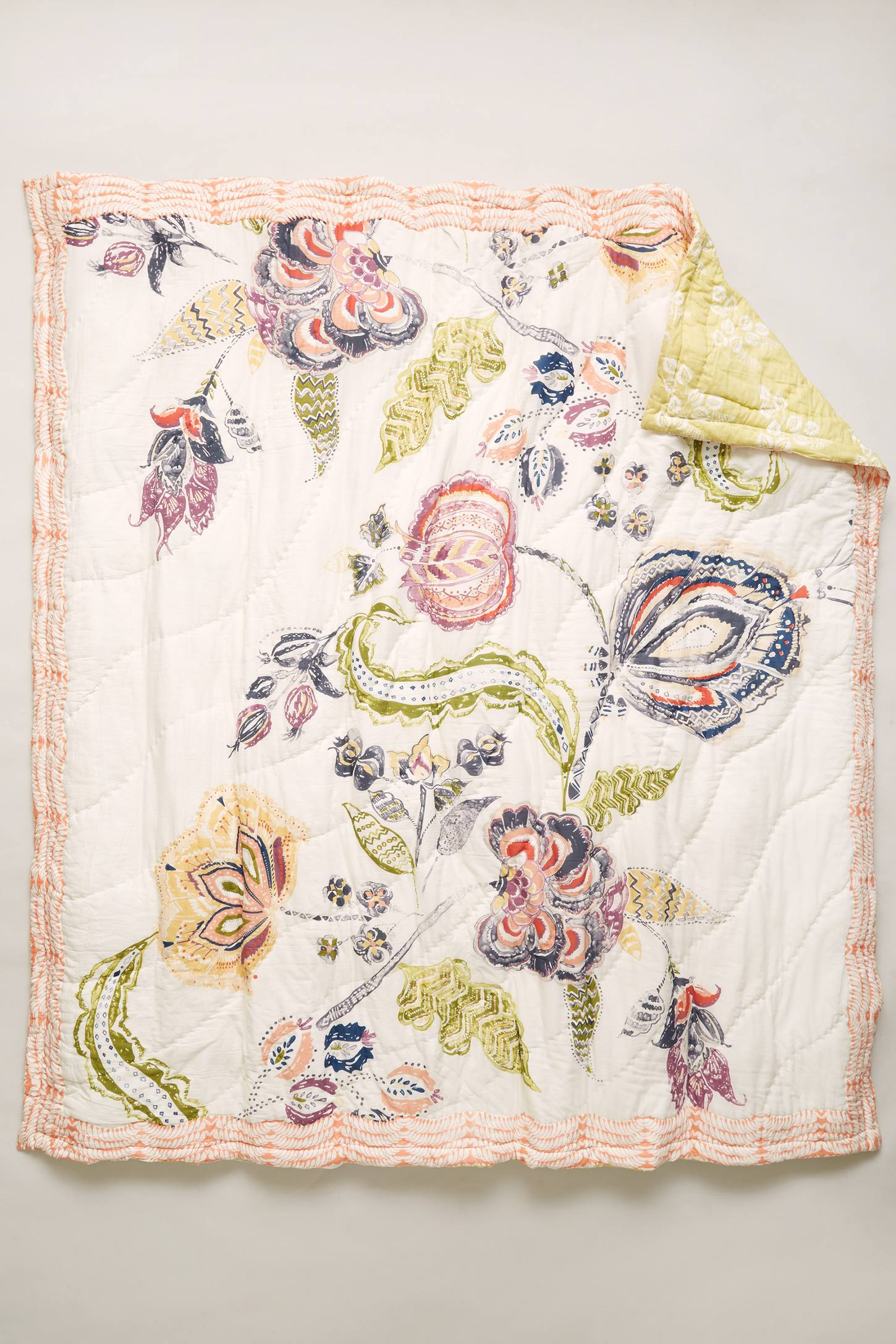 Woodblock Floral Quilt Anthropologie