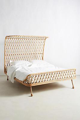 chambre boho, base de lit rotin, anthropologie
