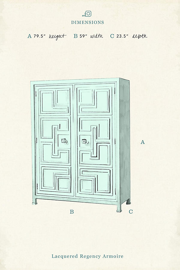Slide View: 6: Lacquered Regency Armoire