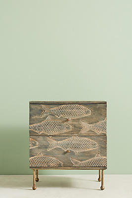 Slide View: 1: Handcarved Streamlet Nightstand